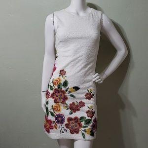 DESIGUAL white lace overlay dress